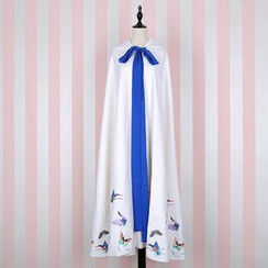 Rega - Butterfly Embroidered Hooded Long Cape