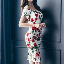 Aurora - 短袖一字肩印花修身連衣裙