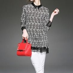 Alaroo - 3/4-Sleeve Lace Panel Patterned Top