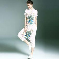 Elabo - Set: Mandarin Collar Embroidered Short-Sleeve Top + Cropped Harem Pants
