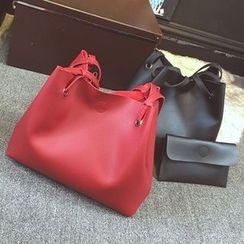 BAGuette - Set : Faux Leather Bucket Bag + Clutch