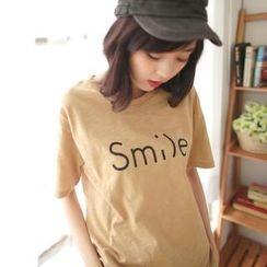 Tokyo Fashion - Short-Sleeve 'Smile'-Print T-Shirt