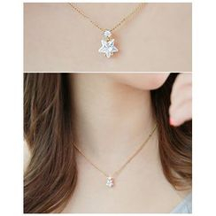 Miss21 Korea - Rhinestone Star-Pendant Necklace