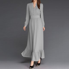Rebecca - V-Neck Long-Sleeve Maxi Dress