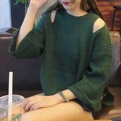 Rollis - Cutout Shoulder Knit Top