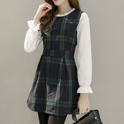 Angel Shine - Mock Two-Piece Plaid Dress