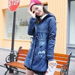 Pipafellow - Padded Hooded Zip Denim Coat