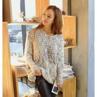 REDOPIN - Fringed Panel Marled Knit Sweater