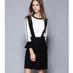 Rosesong - Set: Contrast Trim Bell-Sleeve Top + Suspender Skirt