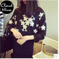 Cloud Nine - Embroidered Chiffon Blouse