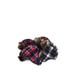 Ohkkage - Check-Pattern Faux-Fur Trim Biker Hat