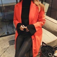 DABAGIRL - Notch-Lapel Single-Breasted Wool Blend Coat