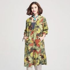 Jiuni - Floral Print Long Jacket