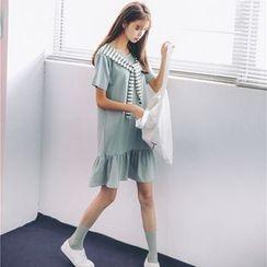 Porta - Tie-neck Short-Sleeve Dress
