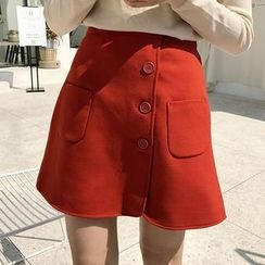 HALOLALA - Buttoned A-Line Skirt