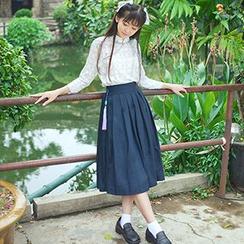 GOGO Girl - Set: 3/4-Sleeve Patterned + Pleated Midi Skirt