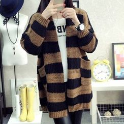 FR - Stripe Open Front Long Cardigan