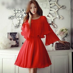 Dabuwawa - Long-Sleeve Layered Plain Dress