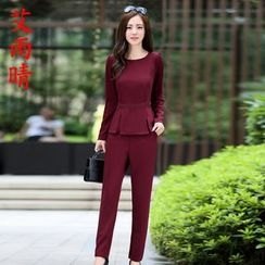 AiSun - Set: Plain Long-Sleeve Peplum Top + Pants