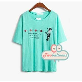 JVL - Loose-Fit Short-Sleeve Printed T-Shirt