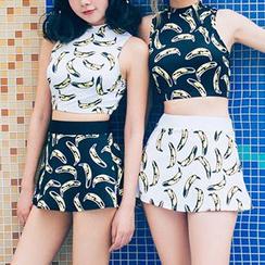 Sweet Splash - 套装: 香蕉印花坦基尼 + 泳裤