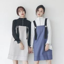 Porta - Set : Bell-Sleeve Top + Strap Dress