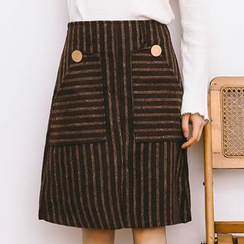 Porta - Stripe Panel A-line Skirt