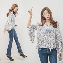 WITH IPUN - Tie-Neck Pleated-Cuff Floral Pattern Top