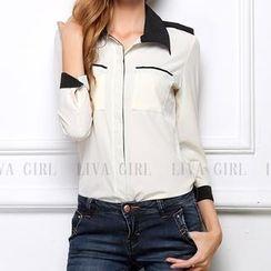 LIVA GIRL - Long-Sleeve Contrast Colour Chiffon Blouse