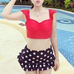 MayFair - Set: Ruffle Trim Cropped Tankini Top + Polka Dot Swim Skirt
