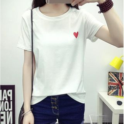 HazyDazy - Heart Print Short Sleeve T-Shirt