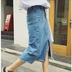 MATO - Slit Denim Midi Skirt