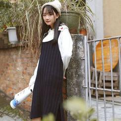 Sens Collection - Plain Ribbed Midi Pinafore Dress