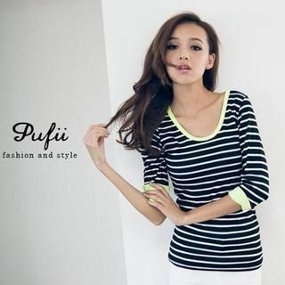 PUFII - Neon-Trim Striped T-Shirt