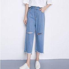 Clover Dream - 做旧宽腿牛仔裤