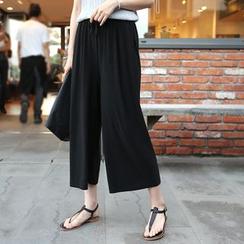 CLICK - Drawstring-Waist Wide-Leg Cropped Pants