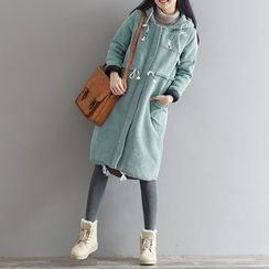 Fancy Show - Embroidered Hooded Padded Zip Coat