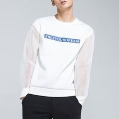 Antszone - Paneled Lettering Pullover