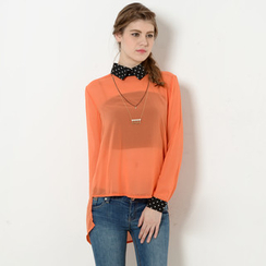 YesStyle Z - Polka Dot Collar Sheer Dip-Back Blouse