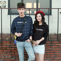Evolu Fashion - Couple Matching Check Lettering Pullover