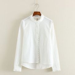 Mushi - Frilled Stand-Collar Blouse