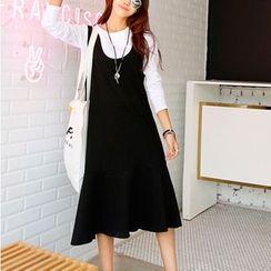 Everose - Set: T-Shirt + Sleeveless Ruffled Dress