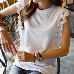 REDOPIN - Lace-Trim Sleeveless Top