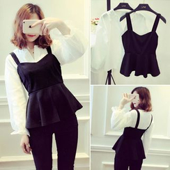 Enocula - Set: Long-Sleeve Blouse + Sleeveless Ruffle-Hem Top