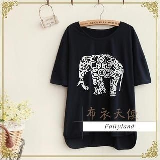 Fairyland - Round-Neck Elephant Print T-Shirt