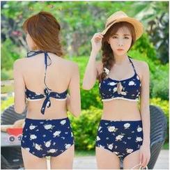 Blue Lagoon - High-Waist Floral Bikini