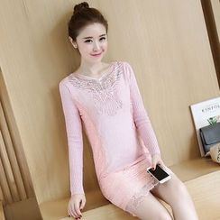 lilygirl - Lace Panel Long-Sleeve Sheath Dress