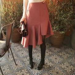 Cherryville - Asymmetric-Hem A-Line Skirt