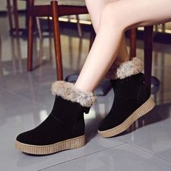 Pangmama - Faux-Fur Trim Short Boots