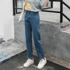 Jeans Kingdom - 开衩直筒牛仔裤